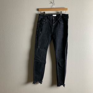 Zara distressed black washed denim size 10